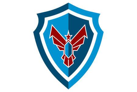 shield eagle power guard protection logo icon vector concept flat design 矢量图像