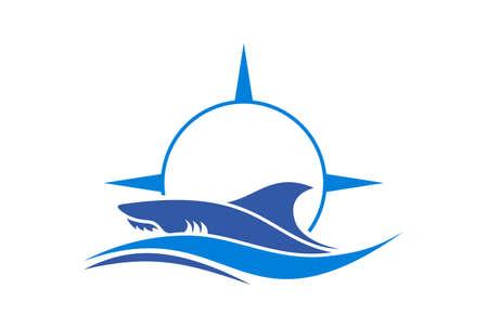 shark compass sea abstract logo icon vector concept flat design Vettoriali