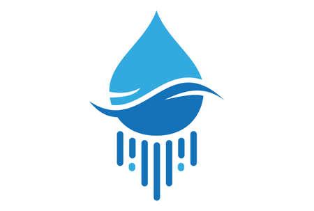 water blue logo icon vector concept flat design