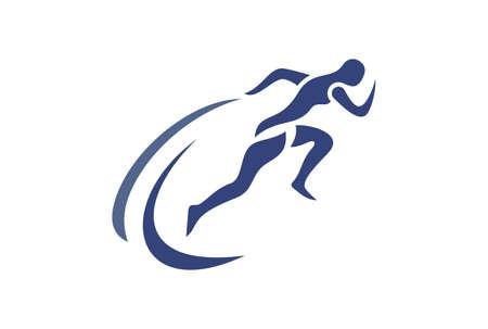 marathon run logo sport icon vector concept flat design