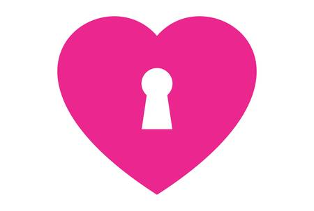 lock heart love logo icon vector concept flat design