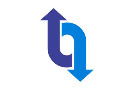 letter o up down arrow logo icon vector concept flat design