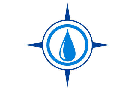 water compass concept logo icon vector concept flat design 免版税图像 - 117188617