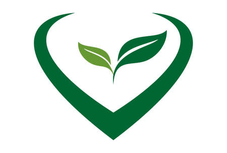 plant nature tea love garden leaves logo icon vector concept flat design