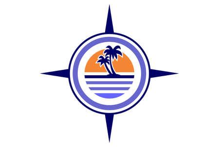 island compass archipelago concept logo icon vector concept flat design 矢量图像