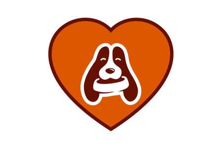 love pets dog logo icon vector concept flat design 矢量图像