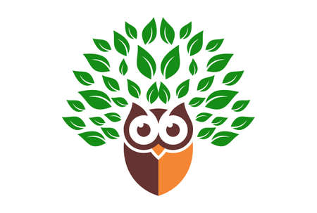 owl leaves green logo icon vector concept flat design