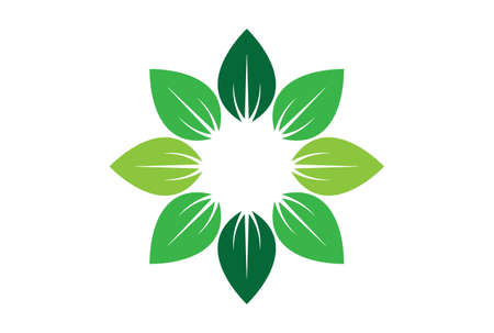 leaves abstract sun nature logo icon vector concept flat design 矢量图像