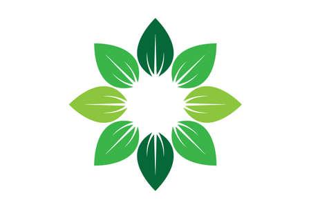 leaves abstract sun nature logo icon vector concept flat design Vettoriali