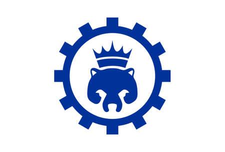 king panda icon abstract logo vector concept flat design