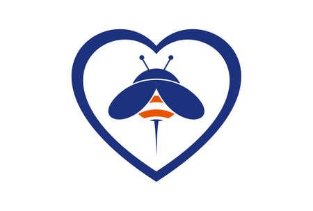 love bee logo concept icon vector concept flat design