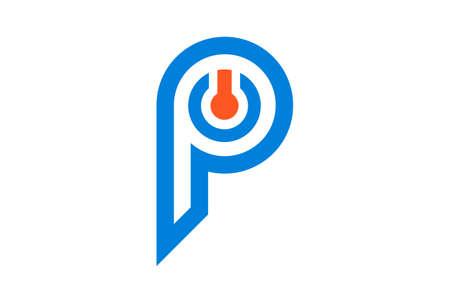 letter p power logo icon vector concept flat design