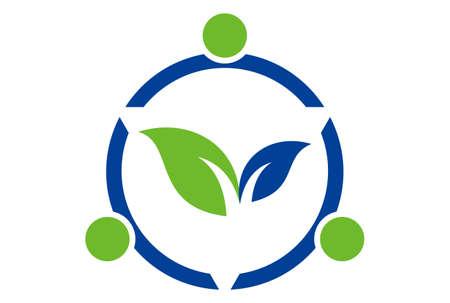 nature herbal leaves logo icon vector concept flat design 免版税图像 - 117188672