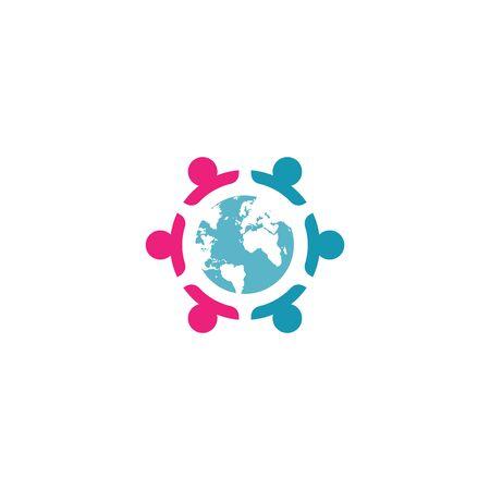 Combination of community icon and globe design vectors unique, modern