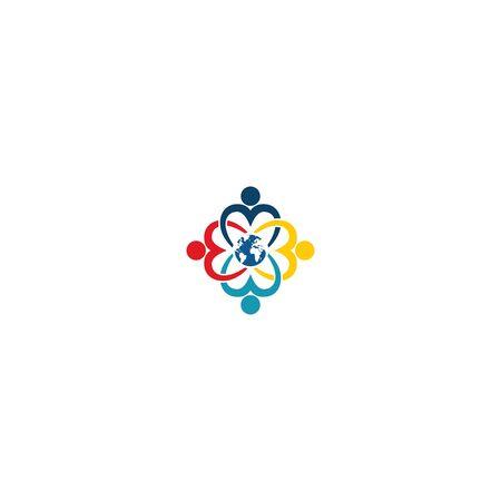 Combination of community icon and globe  design vectors unique, modern V.3