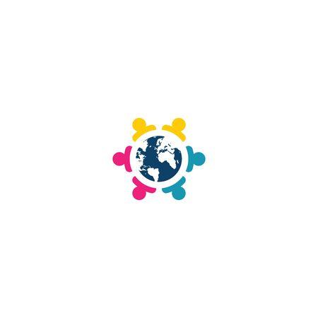 Combination of community icon and globe   design vectors unique, modern V.2