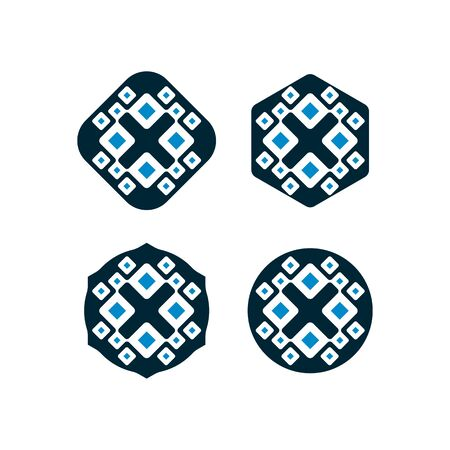 vector design patterns in dark blue and light blue modern unique