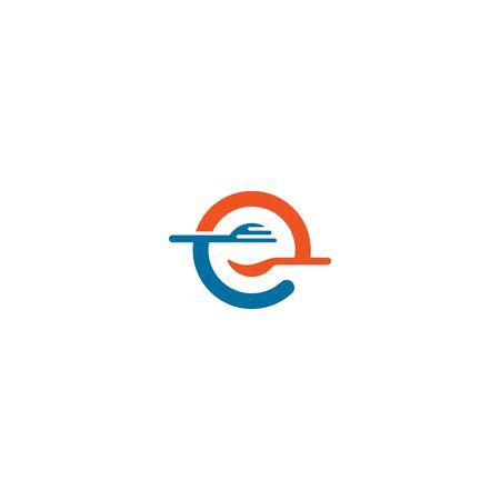 Combination of cutlery and initials letters E design vectors Illusztráció