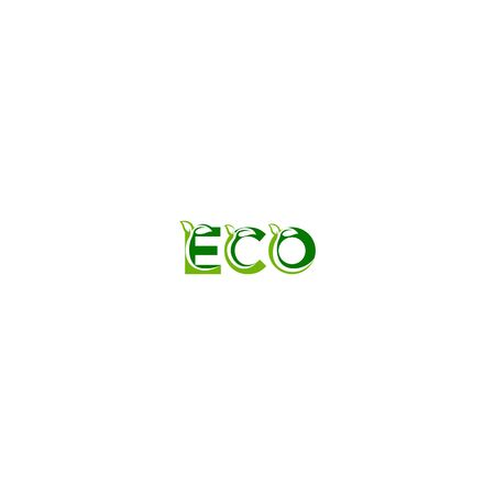 Combination of letters ECO and leaf design vectors