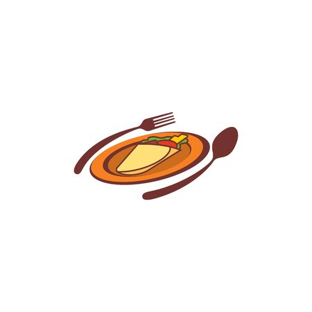 Combination of cutlery and plate design vectors for restaurant