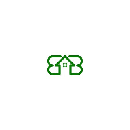 Combination of home and initials letters B design vectors Illustration