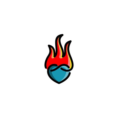 Combination of love and fire design vectors unique