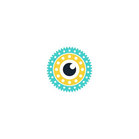 Combination of lens and gear logo design vector
