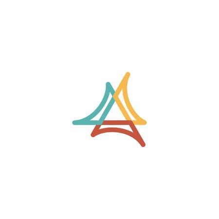 Triangle logo design vector monoline style, unique, modern Stock fotó - 130555551