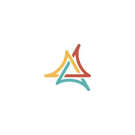 Triangle logo design vector monoline style, unique, modern