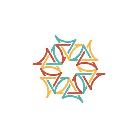 Hexagon logo design vector monoline style, unique, modern Illusztráció