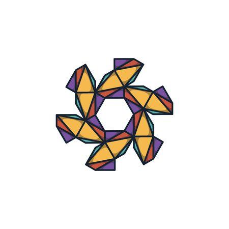 Combination of triangle and hexagon logo design vector Stock fotó - 130555578