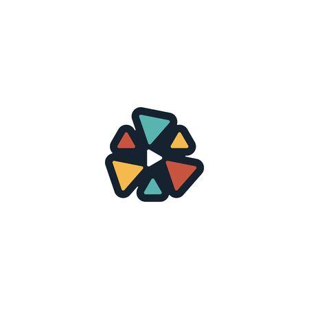 Play media logo design vector Illustration