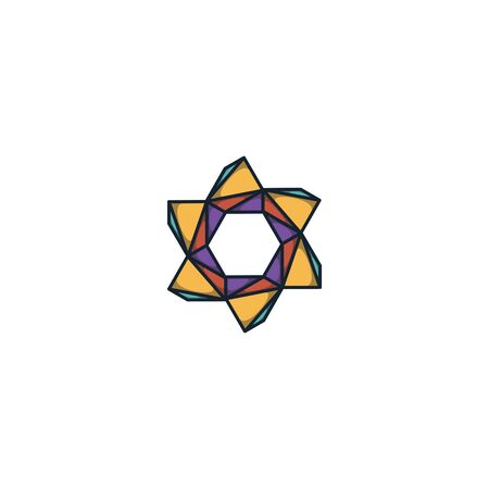 Combination of triangle and hexagon logo design vector