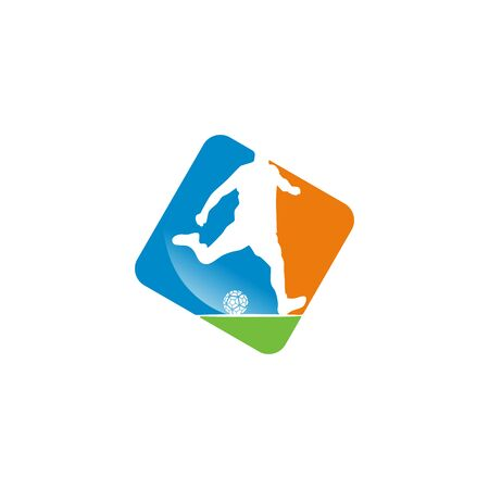 Football player logo design vector Stock fotó - 130555602