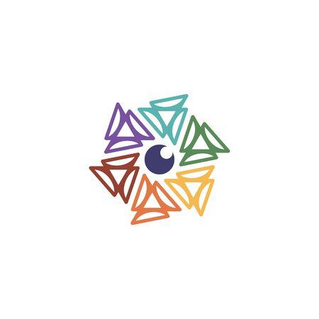 Hexagon lens logo design vector colorful