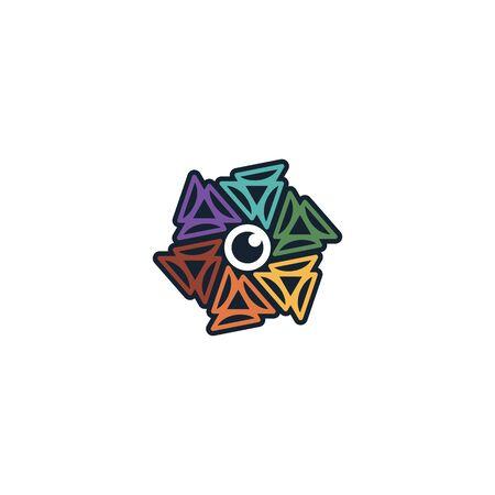 Hexagon lens logo design vector colorful Stock fotó - 130555611