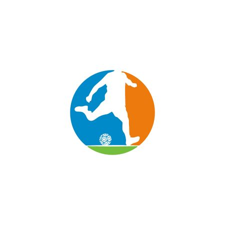 Football player logo design vector Stock fotó - 130555615