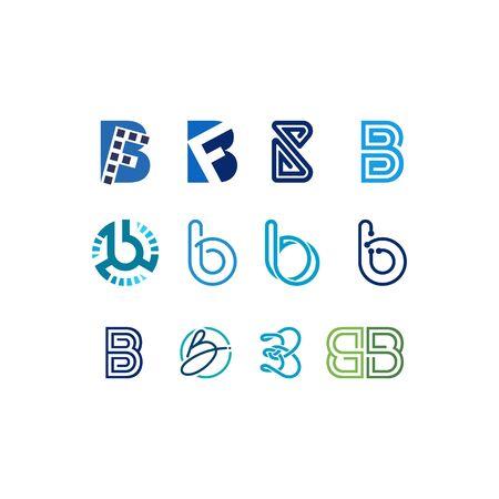 Initial letter B design templates vectors set