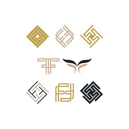 Initial letter F design templates vectors set