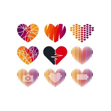 Love design templates vectors set Illusztráció
