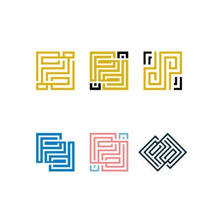 Initials letters PD design templates vectors set Stock fotó - 131769249