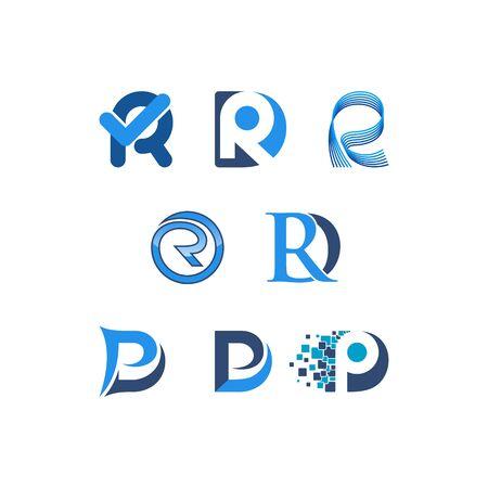 Initials letters R design templates vectors set