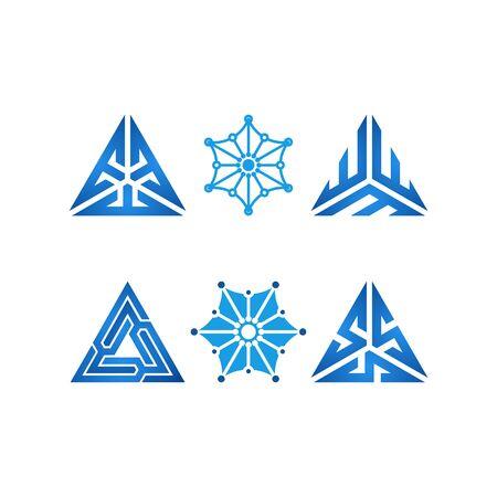 Triangle technology design templates vector Set Stock fotó - 131769247