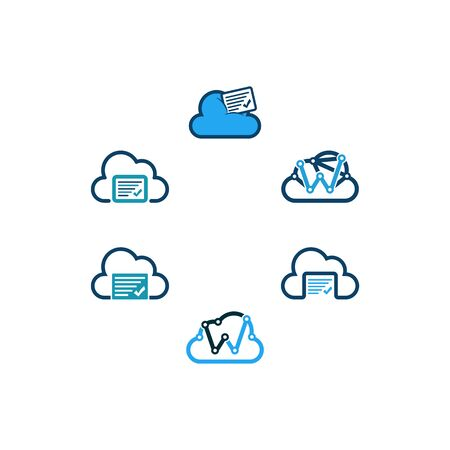 Cloud technology design templates vector Set Stock fotó - 131769255