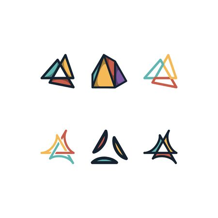 Triangle design templates vector Set