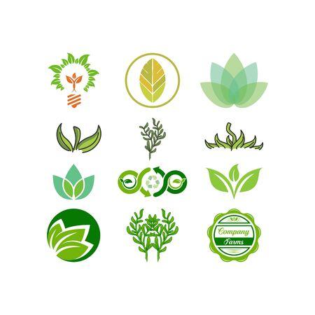 Green Leaf design templates vectors set Illusztráció