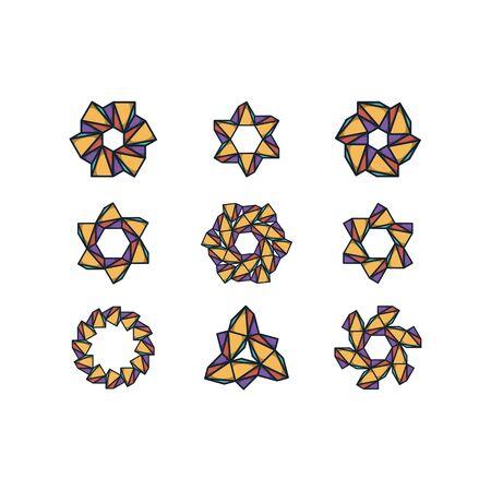 Hexagon and triangle combination  design templates vectors set Stock fotó - 131769260