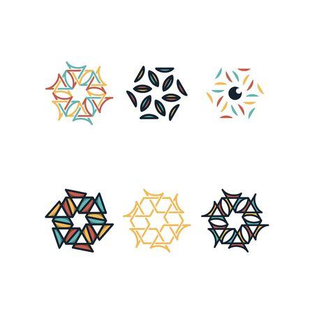 Hexagon design templates vectors set Illusztráció