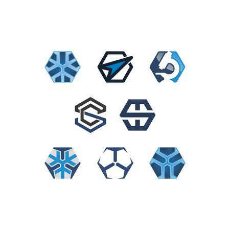 Hexagon technology design templates vectors set Illusztráció