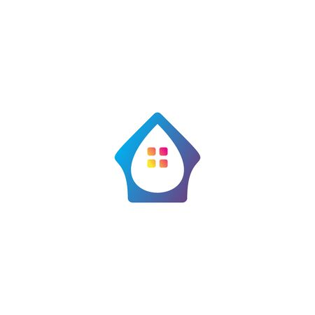 Water home unique logo design vector